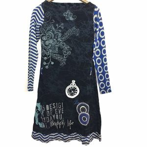Desigual Floral Midi Fitted Graphic Spellout Dress
